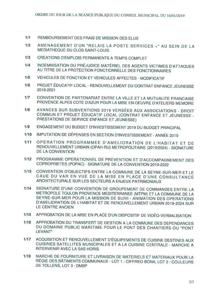 L'Ordre du Jour du Conseil municipal de La Seyne sur Mer du 16/01/2019