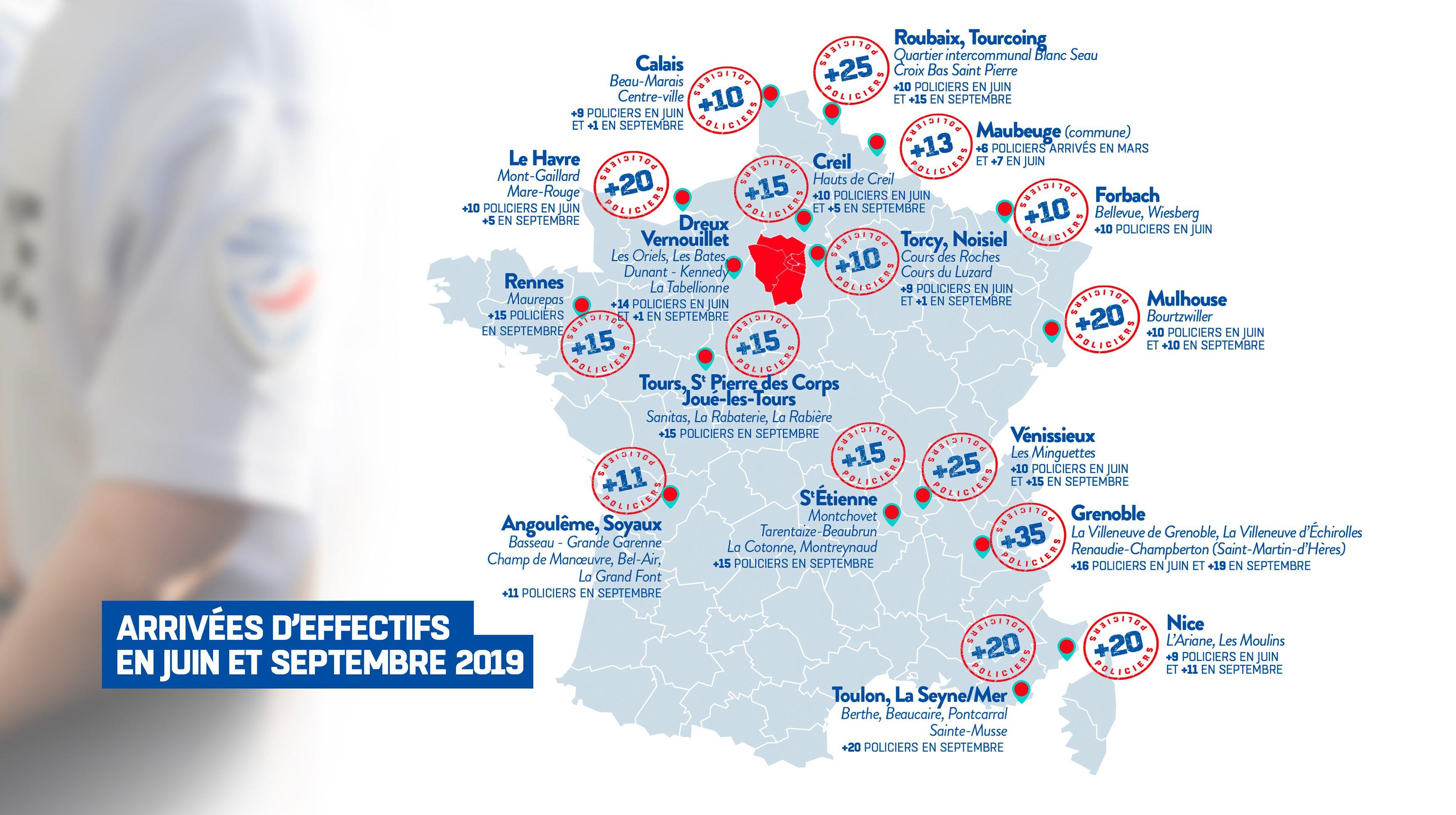 Castaner: 20 Agents de la Police de Sécurité du Quotidien arrivent à La Seyne et Toulon en Renfort