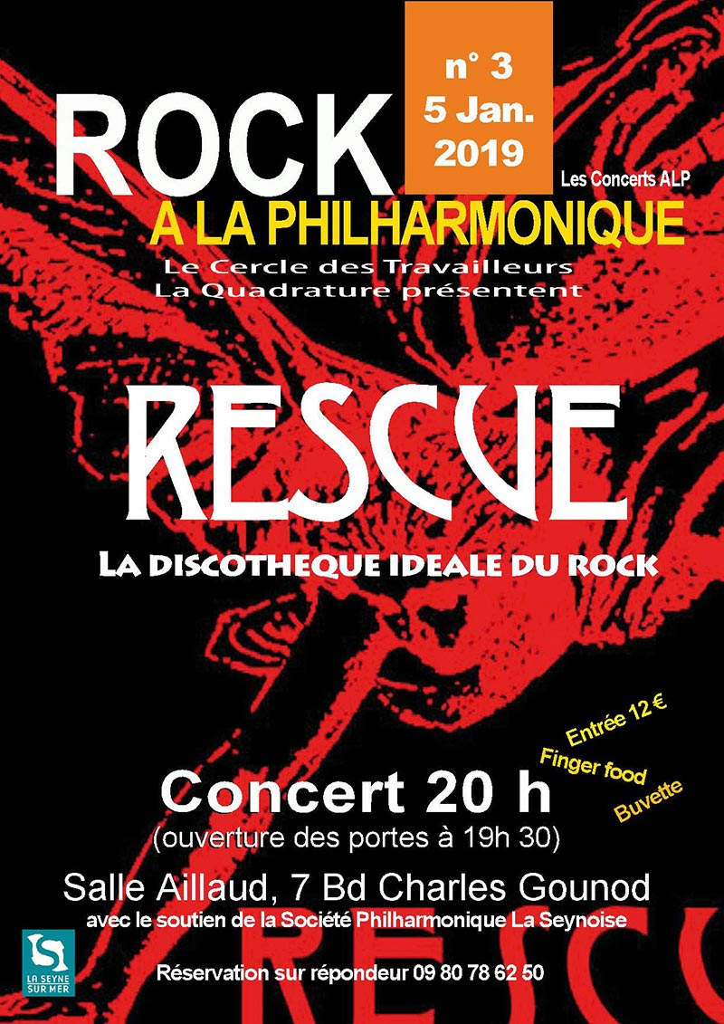Rock à la Philharmonique: La Quadrature reçoit RESCUE, le 05/01/2019