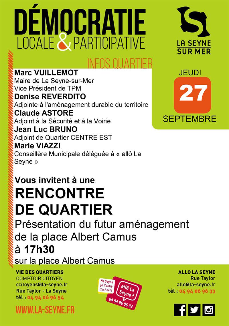 La Seyne : Aménagements et Travaux de la Place Albert Camus: Rencontre 27/09/2018