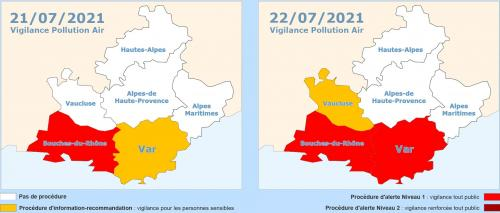 Vigilance Pollution Air: Les 21 & 22/07/2021 sur La Seyne-sur-Mer et Alentours -