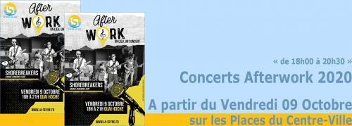 Concerts Afterwork 2020:A partir du Vendredi 09 Octobre sur lesPlaces du Centre-Ville -