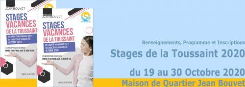 Les Stages de la Toussaint 2020 à la Maison de Quartier Jean Bouvet -