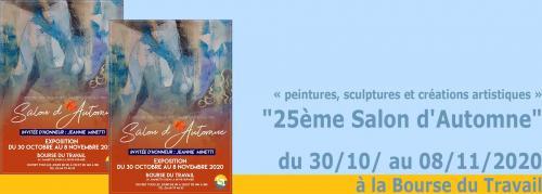 Le 25ème Salon d'Automne, du 30/10/ au 08/11/2020 à la Bourse du Travail -