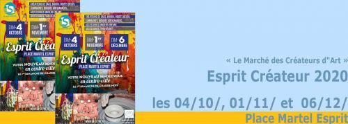 Esprit Créateur: Le Marché des Créateurs d'Art, les 04/10/, 01/11/ et  06/12/2020 -